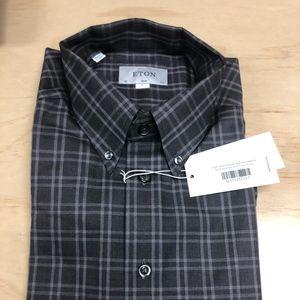 Eton Slim Fit Button Down Grey Check